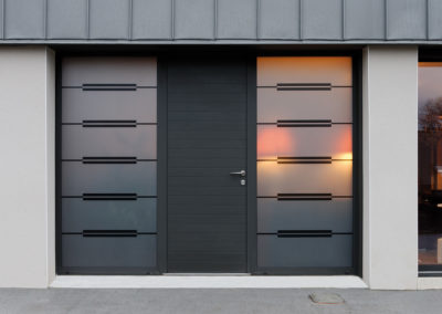 Impression sur vitrage, décor Naig gris foncé sur vitrages fixes Matelux