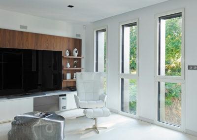 Oscillo-battants sur allèges vitrées en Aluminium blanc RAL 9016